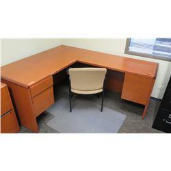 """Wooden Desk 65""""L x 30""""D x 30""""H w/ Chair"""
