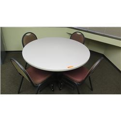 "Round Table (42""Dia, 30""H) w/ 4 Padded Metal Frame Chairs"