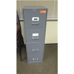 "Vertical File Cabinet, Gray 14"" x 18"" x 46.5""H (top drawer has slight damage)"