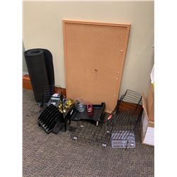 Corkboard, Desk & File Organizers, Bell, Adding Machine, Yoga Mat?
