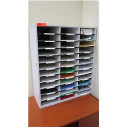 "Multi-Slot Mailroom Shelving Unit 29""W x 12""D x 35""H"