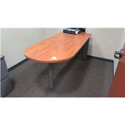 "Long Woooden Desk/Table w/ Rounded End 72""L x 30""W x 30""H w/Rolling File Cabinet"