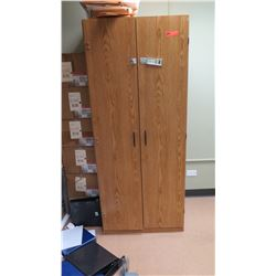 """Wooden Utility Cabinet 29.5""""W x 16.5""""D x 72"""" H (w/ Misc. Supplies)"""
