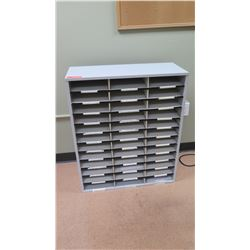 "Multi-Slot Mailroom Paper Shelving Unit w/ 33 Slots 29""L x 12""D x 35""H"