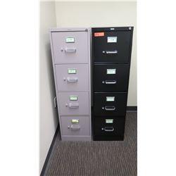 "Qty 2 Vertical File Cabinets (HON, Realspace), Black & Lt. Gray 15""W x 26.5""D x 52""H"