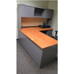 """Wooden Desk w/ Overhead Cabinets, File Cabinet & Drawers 60""""L x 24""""W x 30""""H"""