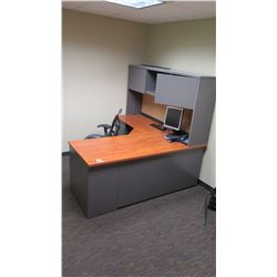 "Wooden Desk w/ Overhead Cabinets, File Cabinet & Drawers, Office Chair  60""L x 24""W x 30""H"