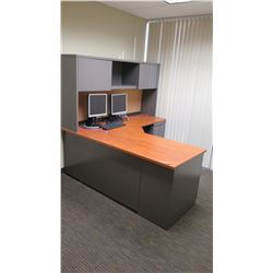 "Wooden Desk w/ Overhead Cabinets, File Cabinet & Drawers 60""L x 24""W x 30""H. Monitors Shown in Pictu"