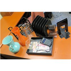 Misc. Office Accessories: Tray, Organizers, Brackets, Vases, etc.