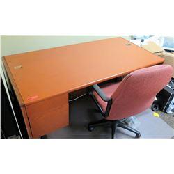 "Wooden Desk (72""L x 36""D x 30""H) w/ Office Chair"
