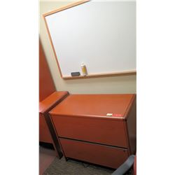 """Wooden 2-Drawer Lateral File Cabinet (36"""" x 20"""" x 30""""H) & Dry-Erase Board"""