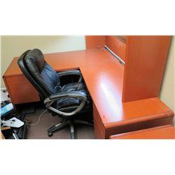 "Wooden Desk 78""L x 24"" w/ Overhead Cabinet (67""H) & Office Chair"