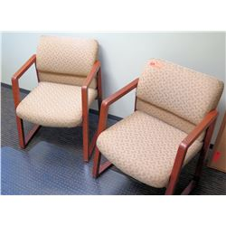 Qty 2 Upholstered Wooden Reception Chairs & Plastic Desk Mat