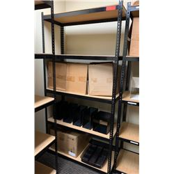 "Shelving Unit w/ Metal Frame 15.5""D, 72""H w/ Misc. Metal Organizers on 2nd Shelf"