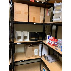 "Shelving Unit w/ Metal Frame 15.5""D, 72""H w/ Misc. Metal Organizers on 3rd Shelf"