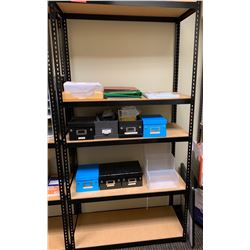 "Shelving Unit w/ Metal Frame 15.5""D, 72""H w/Organizer Boxes, etc."