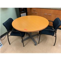 "Round Wooden Table (42"" Dia.) w/ 2 Chairs (Table Slightly Wobbly-See Last Photo)"