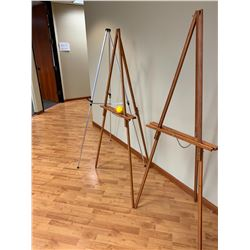 2 Folding Wooden Sign Holders, 1 Aluminum Tripod Sign Holder