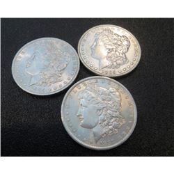 1889, 1885 o, 1885 AU Grade Morgan Dollar Lot