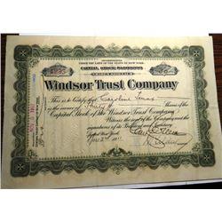 1911 Windsor Trust Stock Certificate -