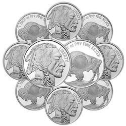 Lot of (10) 1 oz. Buffalo Design Silver Rounds -.