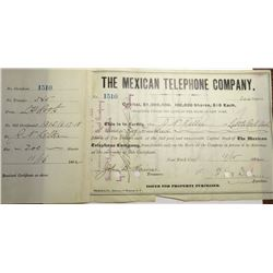 1882 Mexican Telephone Co. Stock Certificate