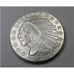1929 Restrike 1 oz Silver Incused Indian Round