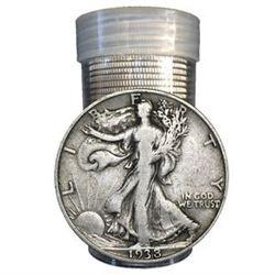 20 pcs. Walking Liberty Half Dollars in Roll