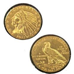 1911 $2.5 Gold Indian in 2 x 2 White Flip