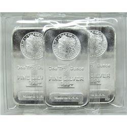 3 pcs. 1 oz Morgan Design Silver Bars
