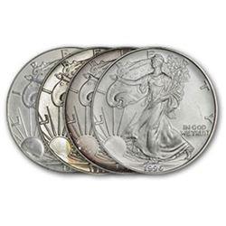 4 pcs. Random Dates- Silver Eagles -