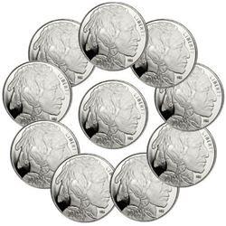 10 pcs. Buffalo Design 1 oz. Silver Rounds