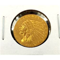 1915 $2.5 Gold Indian Coin in 2 x 2 XF Grade