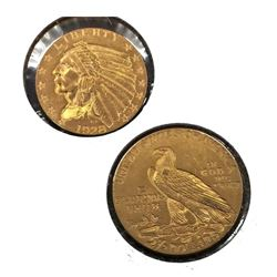 1928 $2.5 Gold Indian in 2 x 2