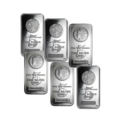 Lot of 6 - 5 oz. Silver Bars - 3 WL - 3 Morgan