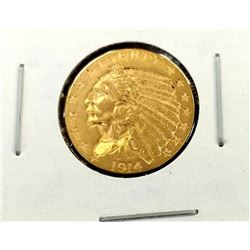 1914 D $2.5 Gold Indian in 2 x 2 XF AU