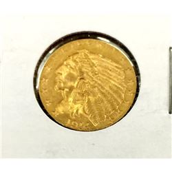1914 $2.5 Gold Indian Coin - XF Plus in 2x2