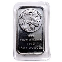 5 oz. Buffalo Design Silver Bar - .999 Pure