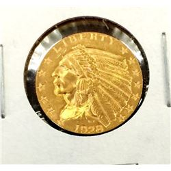 1928 $2.5 Gold Indian Coin AU in 2x2