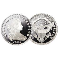 1804 Restrike Flowing Hair 1 oz Silver Round