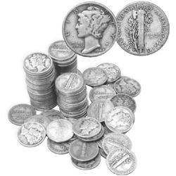 100 pcs. Mercury Dimes -90% Silver