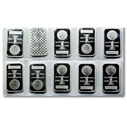 10 pcs. 1 oz. Morgan Design Silver Bars -.999 pure