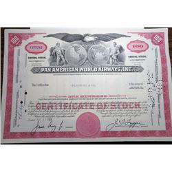 1968 Pan American Airlines Stock Certificate