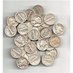 25 pcs. Mercury Dimes - 90% Silver Lot