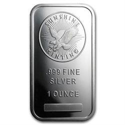 1 oz. Sunshie Silver bar - .999 pure