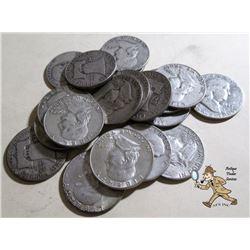 20 pcs. Franklin Half Dollars - 90% Silver