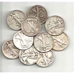 10 pcs. Walking Liberty Half Dollars -90% Silver