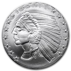 1 oz Incused Indian Silver Round - .999 pure