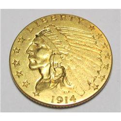 1914 $2.5 Gold Indian XF Plus Grade