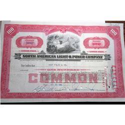 NO. American Light & Power Stock Certificate